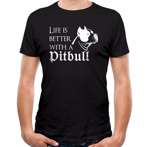Life is Better with a Pitbull Men's T-Shirt