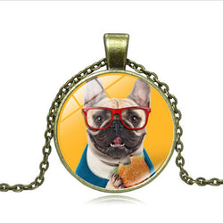 French Bulldog Glasses Eating Burger Necklace
