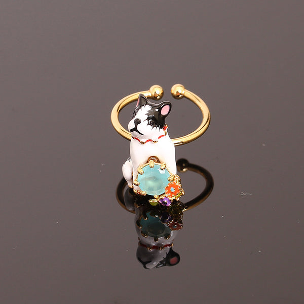 French Bulldog Sitting 3D Model Gold Ring
