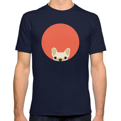 Tan French Bulldog Peaking Orange Circle Men's T-Shirt