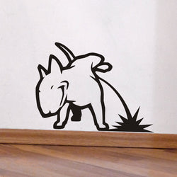 "Bull Terrier Pissing on Floor Sticker (17.7"" x 22""), (23.6"" x 29.5""), (29.5"" x 37.0"")"