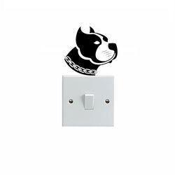 Pit Bull Head Long Crop Ear Outline Drawing Small Sticker