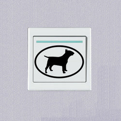 Bull Terrier Silhouette Oval Shape Small Sticker