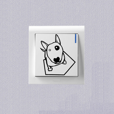 Cute Bull Terrier Looking Up Black Patch Small Sticker