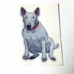 "Realistic Sitting Bull Terrier Painting Sticker (3.9"" x 5.9"")"