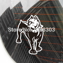 "Black White Pitbull Cartoon Drawing Spike Collar Sticker (5.9"")"