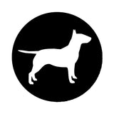 "Bull Terrier Silhouette Full Body Side View Circle Sticker (5.6"" x 5.6"")"