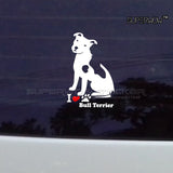 "I Heart Bull Terrier Sticker (2.8"" x 4.3"", 3.5"" x 5.9"")"