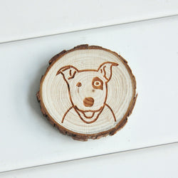 Wooden Tree Slice Bull Terrier Magnet