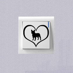 French Bulldog Silhouette In Heart Small Sticker