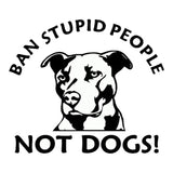 "Bank Stupid People Not Dogs! Pit Bull Sticker (4.5"" x  3.9"")"