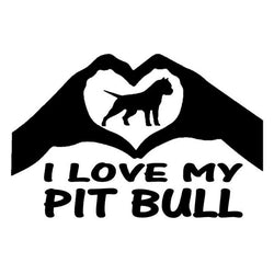 "I Love My Pit Bull Heart Hand Sticker (5.9"" x 3.9"")"