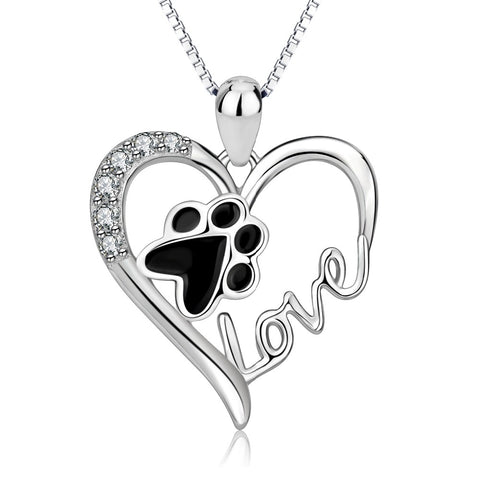 Heart Dog Paw Love Silver Rhinestone Pendant Necklace