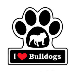 "I Love Bulldogs In Dog Paw Sticker (4.3"")"