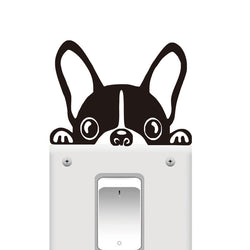 "Peaking French Bulldog Cute Cartoon Small Sticker (3.9"" x 3.1"")"