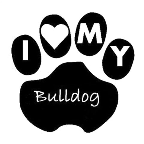 "I Love MY Bulldog Inside Dog Paw Sticker (3.7"" x 3.6"")"