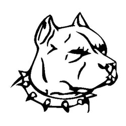 "Mean Looking Pit Bull Head Long Crop Ears Outline Sticker (4.3"" x 4.0"")"