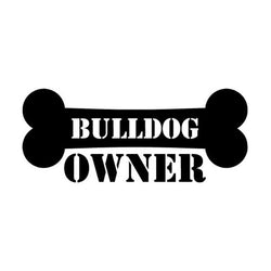 "Bulldog Owner Dog Bone Sticker (5.9"" x 2.5"")"