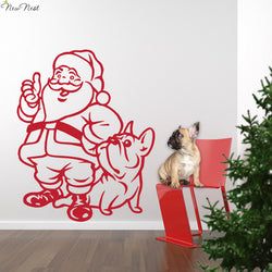 "French Bulldog Santa Claus Christmas Outline Sticker (14.2"" x 17.7""), (22"" x 28"")"