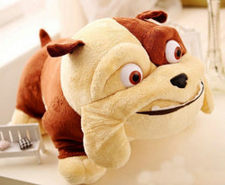 Brown Light Tan Bulldog Big Round Eyes Plush Stuffed Animal