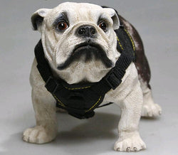 Detailed White English Bulldog Collar 1/6 Scale Figurine Ornament