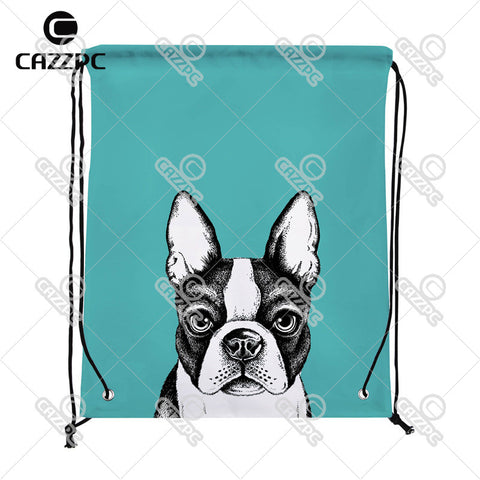 Boston Terrier Drawing Teal Drawstring Backpack