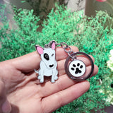 Triple White Bull Terriers Keychain