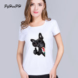 Black French Bulldog Magnifying Glass Women's T-Shirt