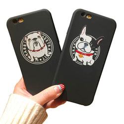 Small Wide French English Bulldog Cartoon Picture Phone for iPhone