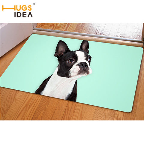 Boston Terrier Teal Background Doormat