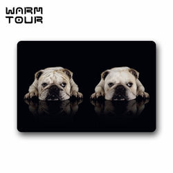 Two White English Bulldog Laying Black Floor Mat Doormat