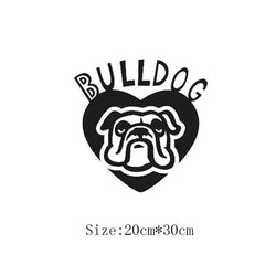 "Bulldog Text And Head Heart Sticker (7.9"" x 11.8"")"