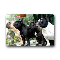 French Bulldogs and Boston Terrier Staring Doormat