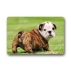 Brindle English Bulldog Butt Out Puppy Doormat