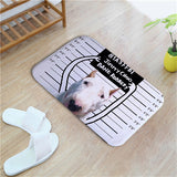 White Bull Terrier Funny Background Drawing Doormat