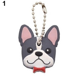 Happy French Bulldog Head Key Cover Keychain