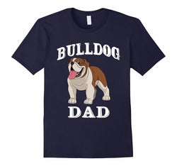 Bulldog Dad English Bulldog Cartoon Navy T-Shirt
