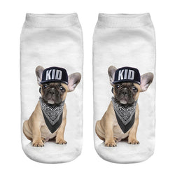 French Bulldog Kid Hat Black Bandana Women's No Show Sock