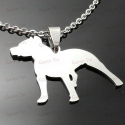 Pitbull Crop Ear Silhouette Pendant Necklace