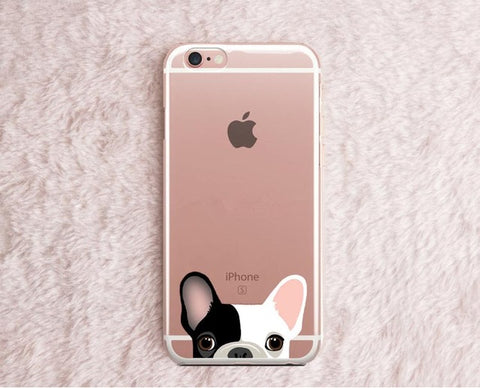 French Bulldog Peaking From Bottom Pink Ear Transparent Phone Case for iPhone