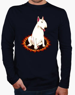 Bull Terrier Cartoon in Fire Circle Men's Long Sleeve Shirt