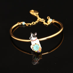 French Bulldog Sitting 3D Model Gold Bracelet