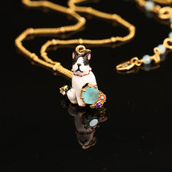 French Bulldog Sitting 3D Model Gold Necklace