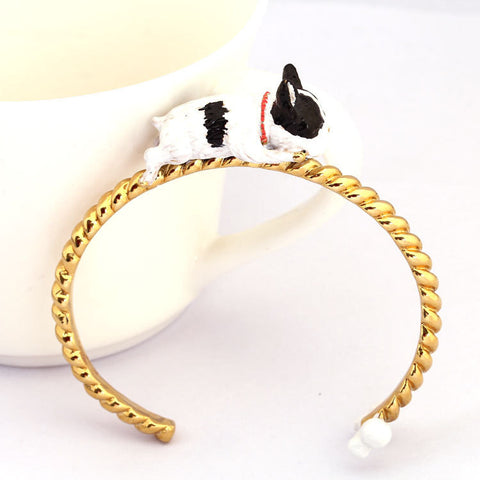 French Bulldog Laying Down 3D Model Gold Bracelet