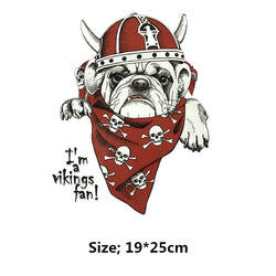 Viking Bulldog DIY Shirt Sticker Iron Heat Transfer Patch