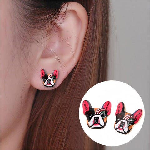 Colorful Make Up French Bulldog Stud Earrings