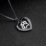 Dog Paw Heart Rhinestone Silver Crystal Pendant Necklace