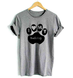 I Love My Bulldog Paw Letters Women's T-Shirt