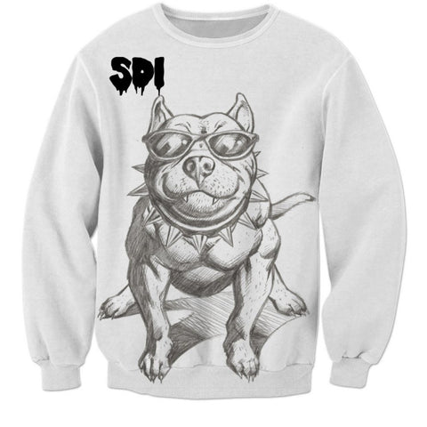 Cool Buff Pit Bull Pencil Drawing Sweatshirt