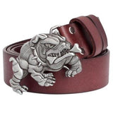 Buff English Bulldog Biting Bone Stripe Metal Leather Belt